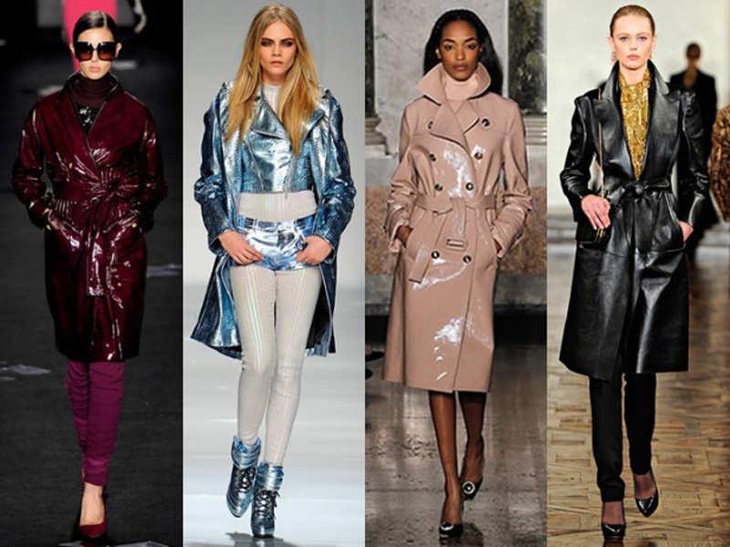 Модные кожаные пальто женские